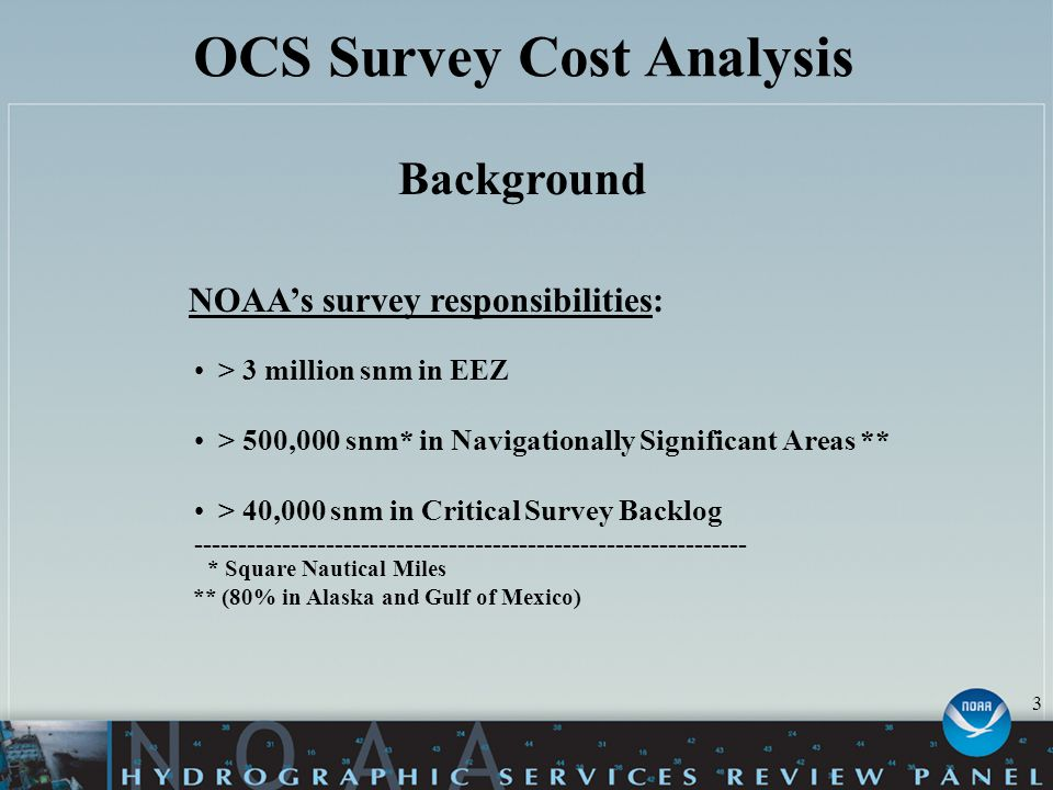 OCS Survey Cost Analysis Background NOAA's survey responsibilities: > 3 million snm in EEZ > 500,000 snm* in Navigationally Significant Areas ** > 40,000 snm in Critical Survey Backlog --------------------------------------------------------------- * Square Nautical Miles ** (80% in Alaska and Gulf of Mexico) 3
