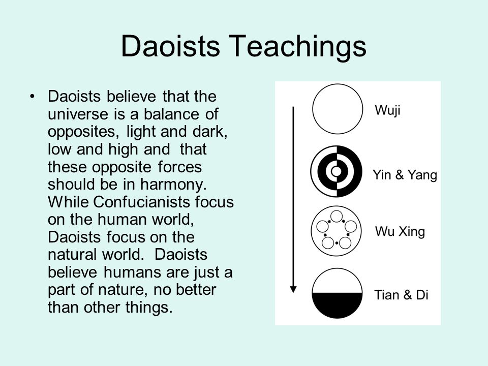 Daoists Teachings Daoists believe that the universe is a balance of opposites, light and dark, low and high and that these opposite forces should be i