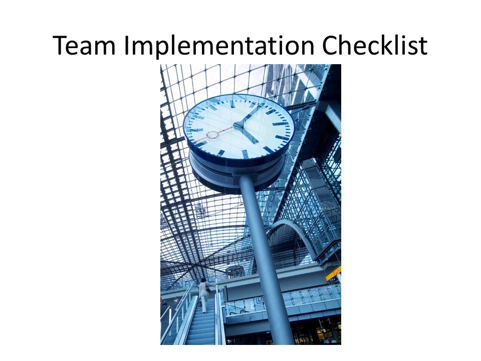 Team Implementation Checklist