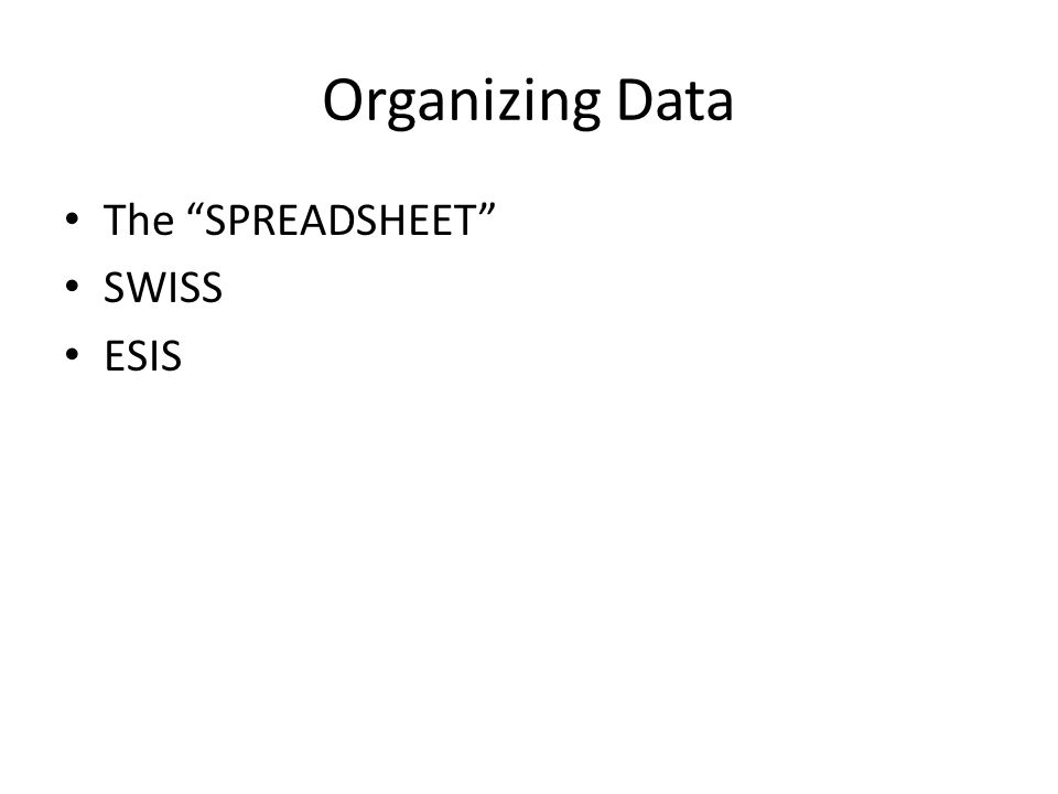 Organizing Data The SPREADSHEET SWISS ESIS