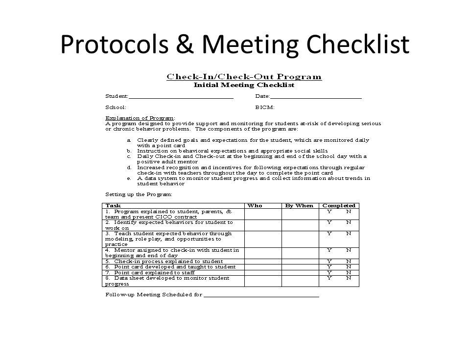 Protocols & Meeting Checklist