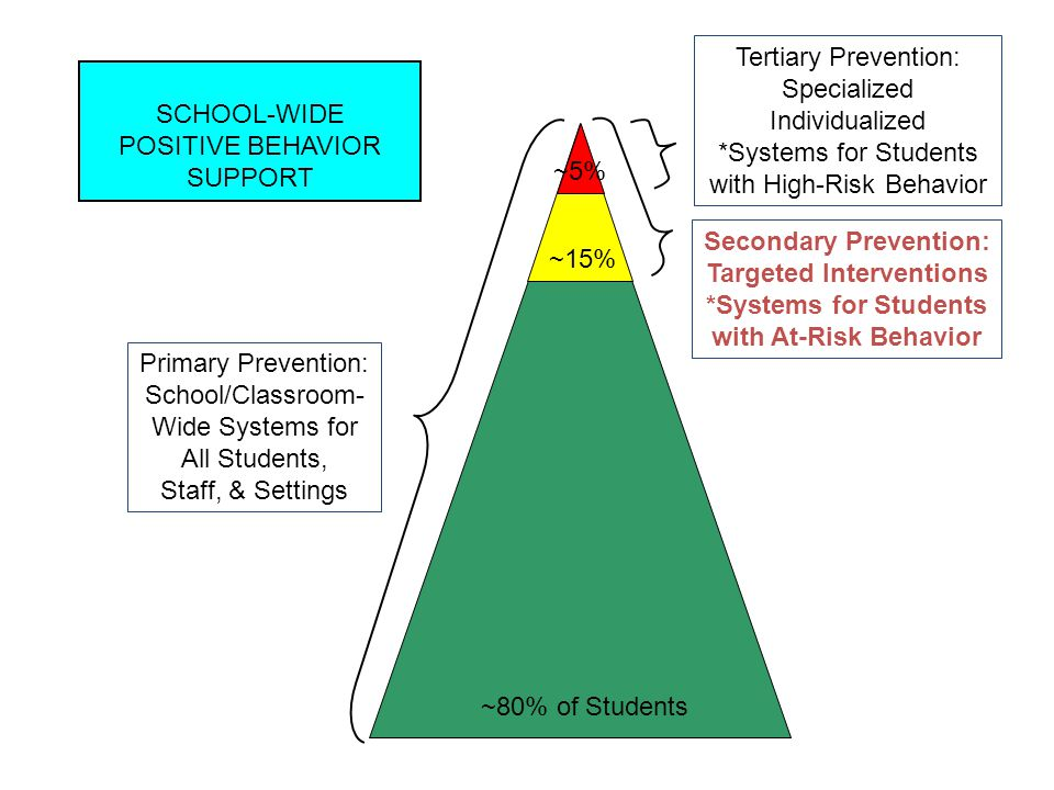 Primary Prevention: School/Classroom- Wide Systems for All Students, Staff, & Settings Secondary Prevention: Targeted Interventions *Systems for Students with At-Risk Behavior Tertiary Prevention: Specialized Individualized *Systems for Students with High-Risk Behavior ~80% of Students ~15% ~5% SCHOOL-WIDE POSITIVE BEHAVIOR SUPPORT