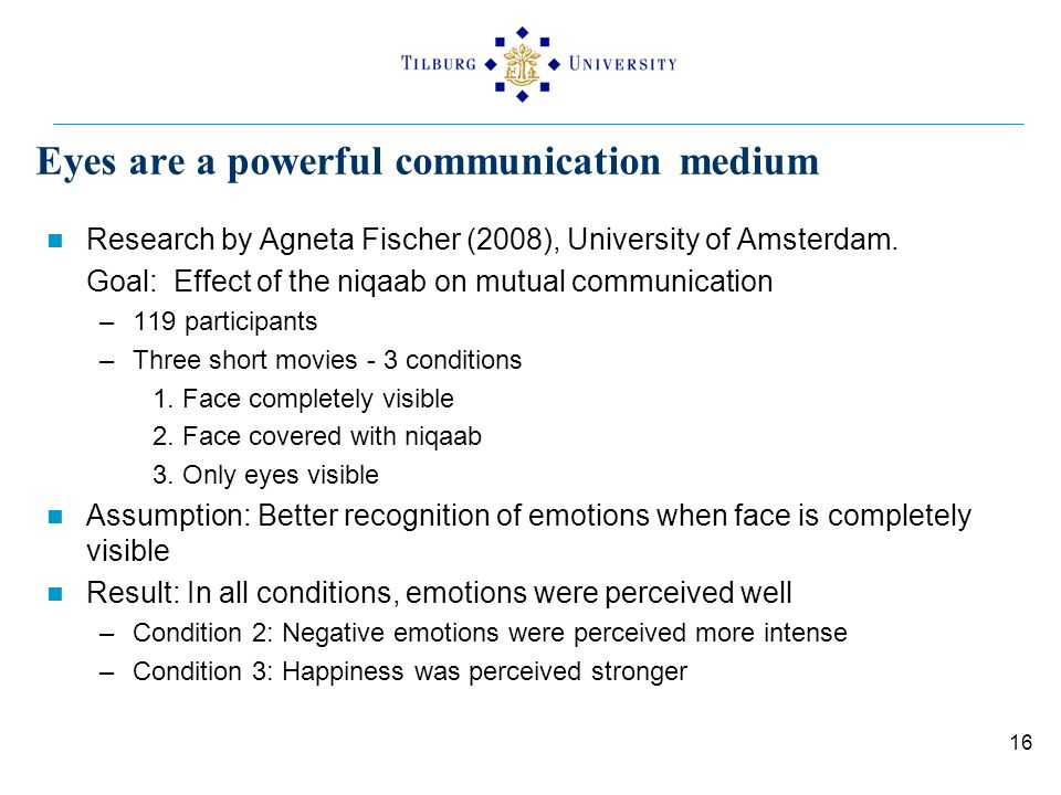 Eyes are a powerful communication medium Research by Agneta Fischer (2008), University of Amsterdam. Goal: Effect of the niqaab on mutual communicatio