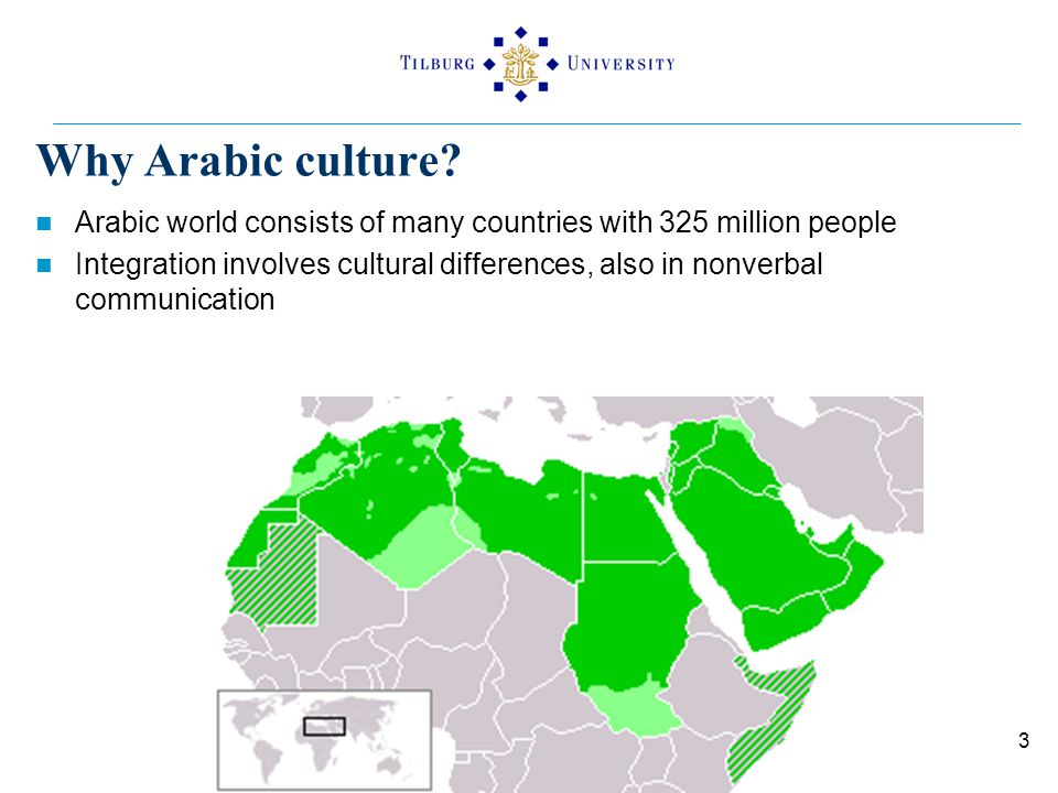 Why Arabic culture? Arabic world consists of many countries with 325 million people Integration involves cultural differences, also in nonverbal commu