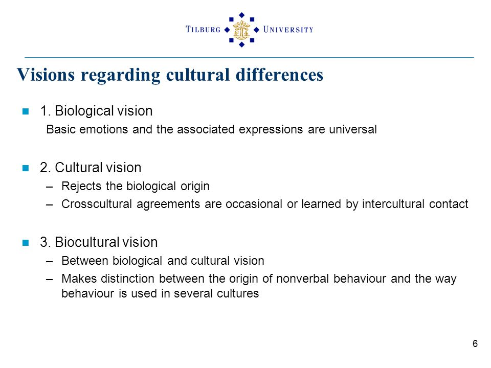Visions regarding cultural differences 1. Biological vision Basic emotions and the associated expressions are universal 2. Cultural vision –Rejects th