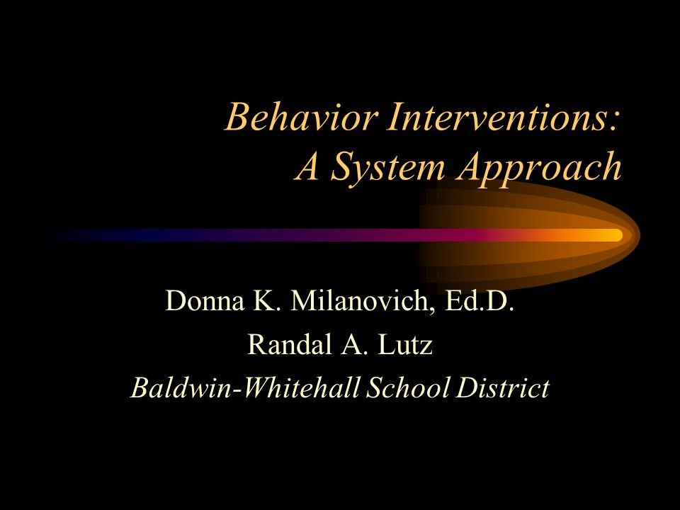 Behavior Interventions: A System Approach Donna K. Milanovich, Ed.D. Randal A. Lutz Baldwin-Whitehall School District
