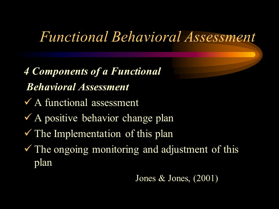 Functional Behavioral Assessment 4 Components of a Functional Behavioral Assessment A functional assessment A positive behavior change plan The Implementation of this plan The ongoing monitoring and adjustment of this plan Jones & Jones, (2001)