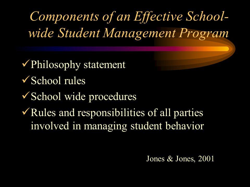 Components of an Effective School- wide Student Management Program Philosophy statement School rules School wide procedures Rules and responsibilities of all parties involved in managing student behavior Jones & Jones, 2001