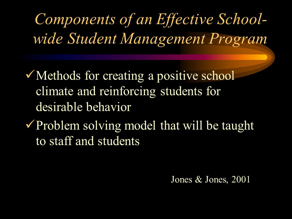 Components of an Effective School- wide Student Management Program Methods for creating a positive school climate and reinforcing students for desirable behavior Problem solving model that will be taught to staff and students Jones & Jones, 2001