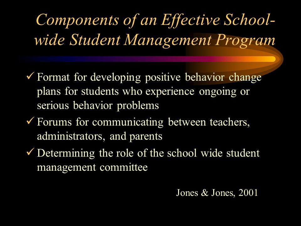 Components of an Effective School- wide Student Management Program Format for developing positive behavior change plans for students who experience on