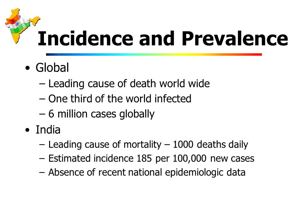 Incidence and Prevalence Global –Leading cause of death world wide –One third of the world infected –6 million cases globally India –Leading cause of mortality – 1000 deaths daily –Estimated incidence 185 per 100,000 new cases –Absence of recent national epidemiologic data