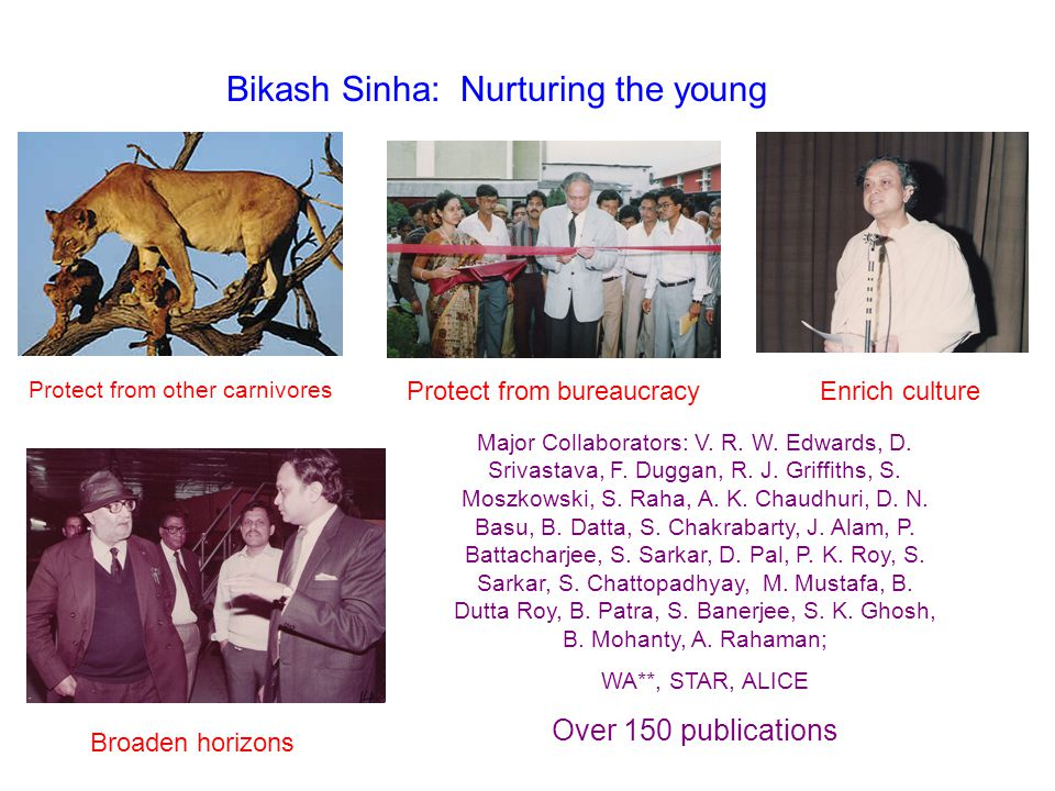 Bikash Sinha: Nurturing the young Protect from other carnivores Protect from bureaucracyEnrich culture Broaden horizons Major Collaborators: V. R. W.