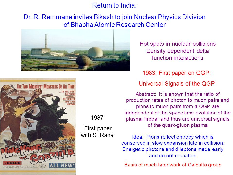 Return to India: Dr. R. Rammana invites Bikash to join Nuclear Physics Division of Bhabha Atomic Research Center Hot spots in nuclear collisions Densi