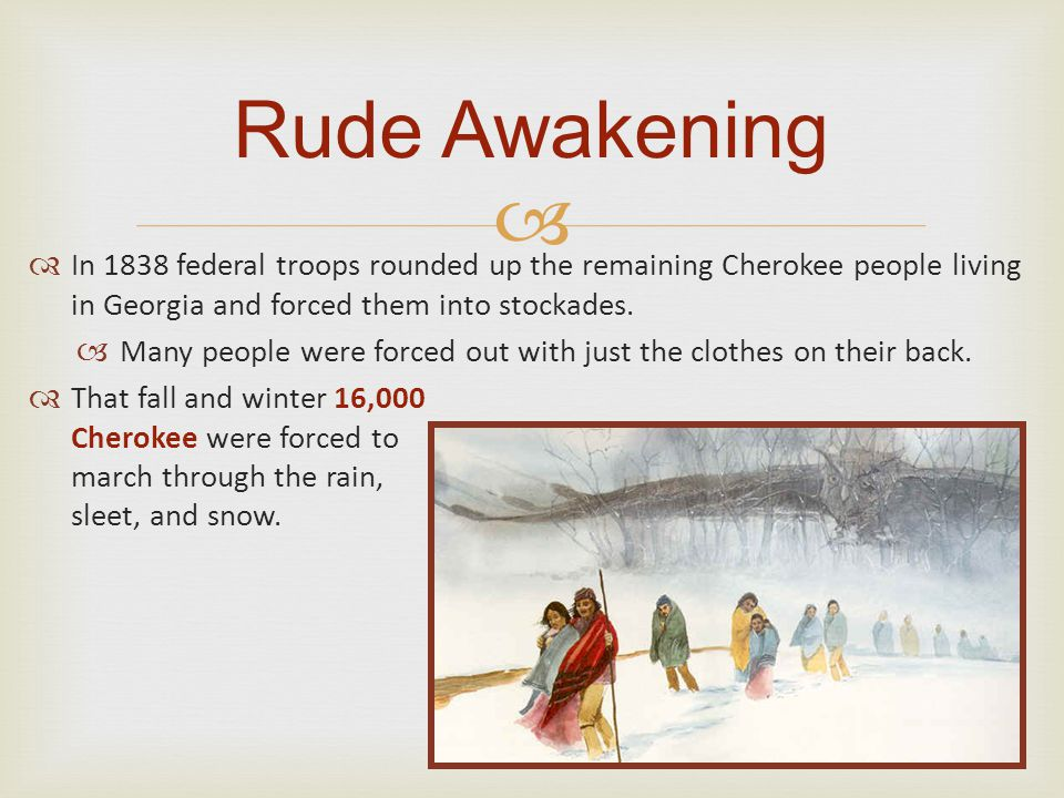  Rude Awakening  In 1838 federal troops rounded up the remaining Cherokee people living in Georgia and forced them into stockades.