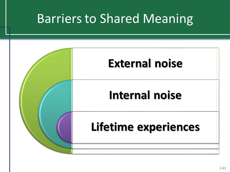 2-11 Barriers to Shared Meaning External noise Internal noise Lifetime experiences