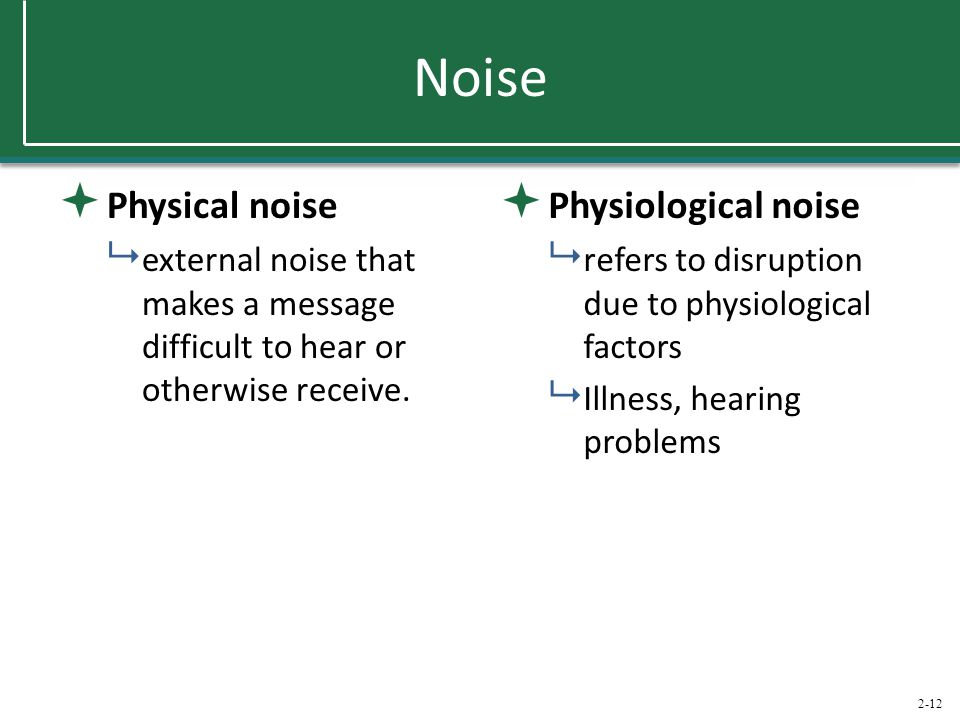 2-12 Noise  Physical noise  external noise that makes a message difficult to hear or otherwise receive.  Physiological noise  refers to disruption