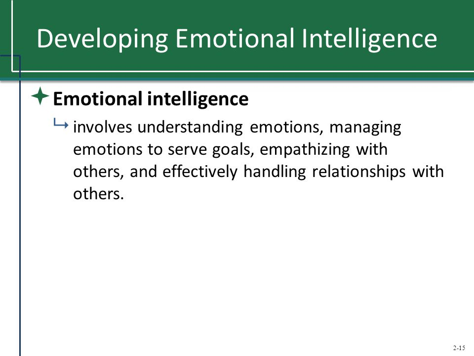 2-15 Developing Emotional Intelligence  Emotional intelligence  involves understanding emotions, managing emotions to serve goals, empathizing with