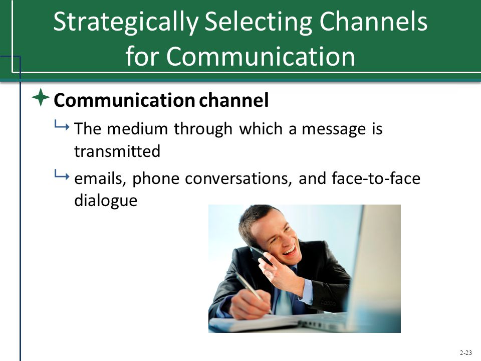 2-23 Strategically Selecting Channels for Communication  Communication channel  The medium through which a message is transmitted  emails, phone co