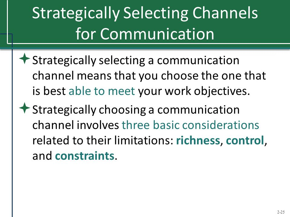 2-25 Strategically Selecting Channels for Communication  Strategically selecting a communication channel means that you choose the one that is best a