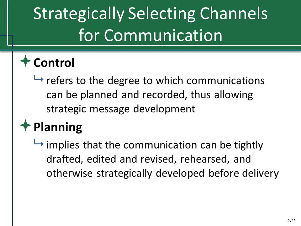 2-28 Strategically Selecting Channels for Communication  Control  refers to the degree to which communications can be planned and recorded, thus all