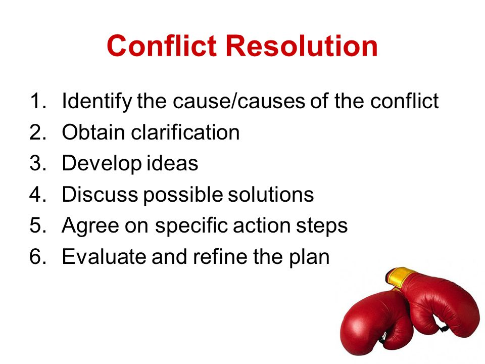 1.Identify the cause/causes of the conflict 2.Obtain clarification 3.Develop ideas 4.Discuss possible solutions 5.Agree on specific action steps 6.Eva