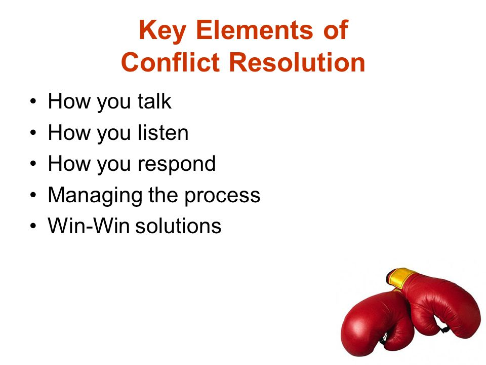 Key Elements of Conflict Resolution How you talk How you listen How you respond Managing the process Win-Win solutions