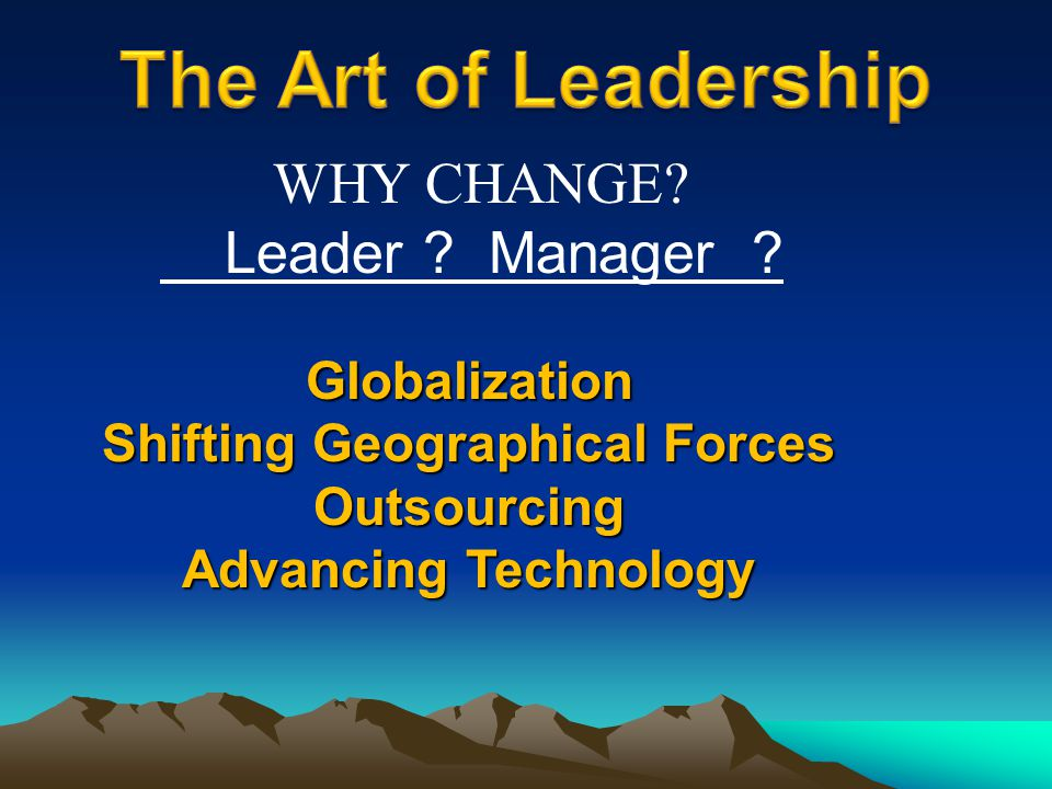 Globalization Shifting Geographical Forces Outsourcing Advancing Technology WHY CHANGE? Leader ? Manager ?
