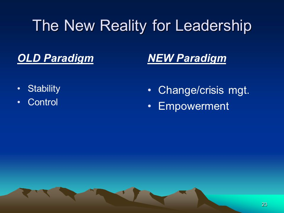 23 The New Reality for Leadership OLD Paradigm Stability Control NEW Paradigm Change/crisis mgt.