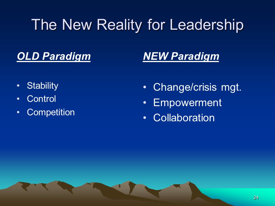 24 The New Reality for Leadership OLD Paradigm Stability Control Competition NEW Paradigm Change/crisis mgt.