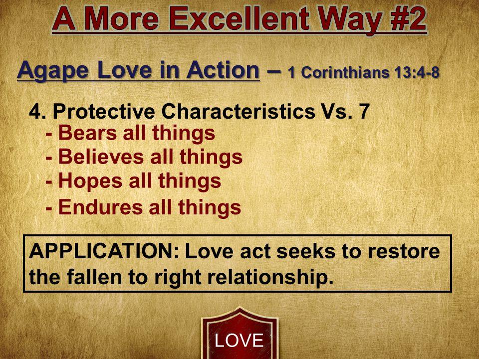 LOVE Agape Love in Action – 1 Corinthians 13:4-8 4.