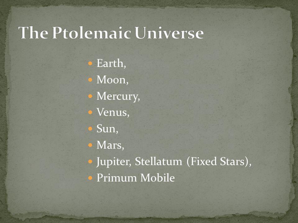 Earth, Moon, Mercury, Venus, Sun, Mars, Jupiter, Stellatum (Fixed Stars), Primum Mobile