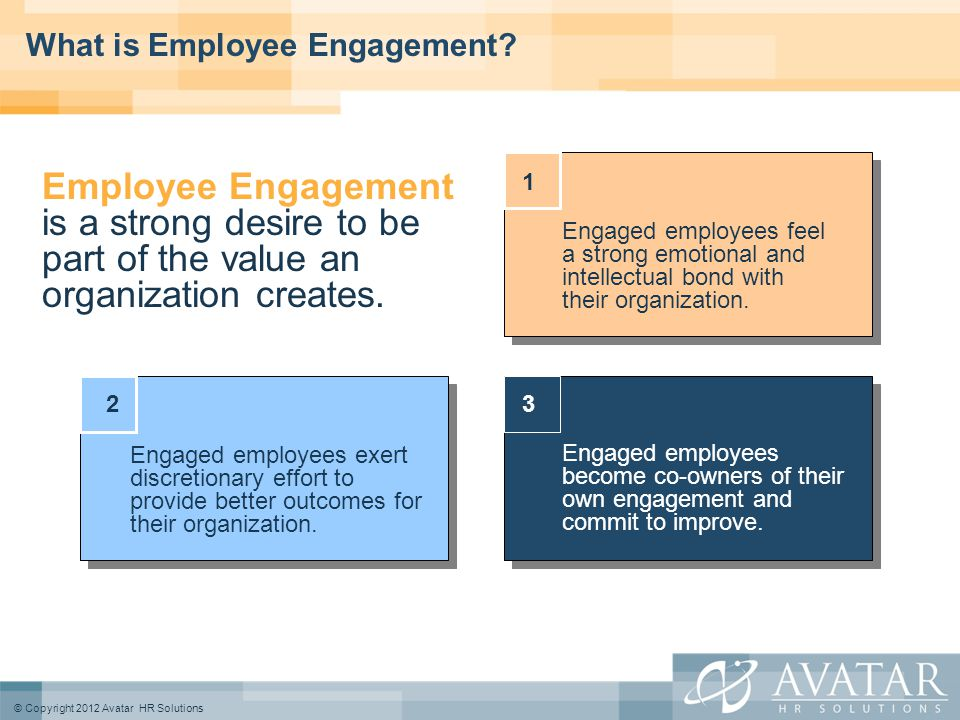 © Copyright 2012 Avatar HR Solutions What is Employee Engagement.