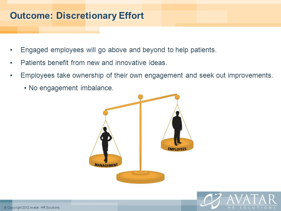 © Copyright 2012 Avatar HR Solutions Outcome: Discretionary Effort Engaged employees will go above and beyond to help patients.