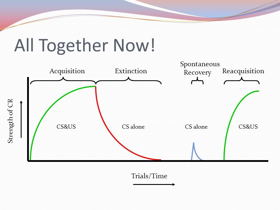 All Together Now! Trials/Time Strength of CR AcquisitionExtinction Spontaneous Recovery Reacquisition CS&USCS alone CS&US