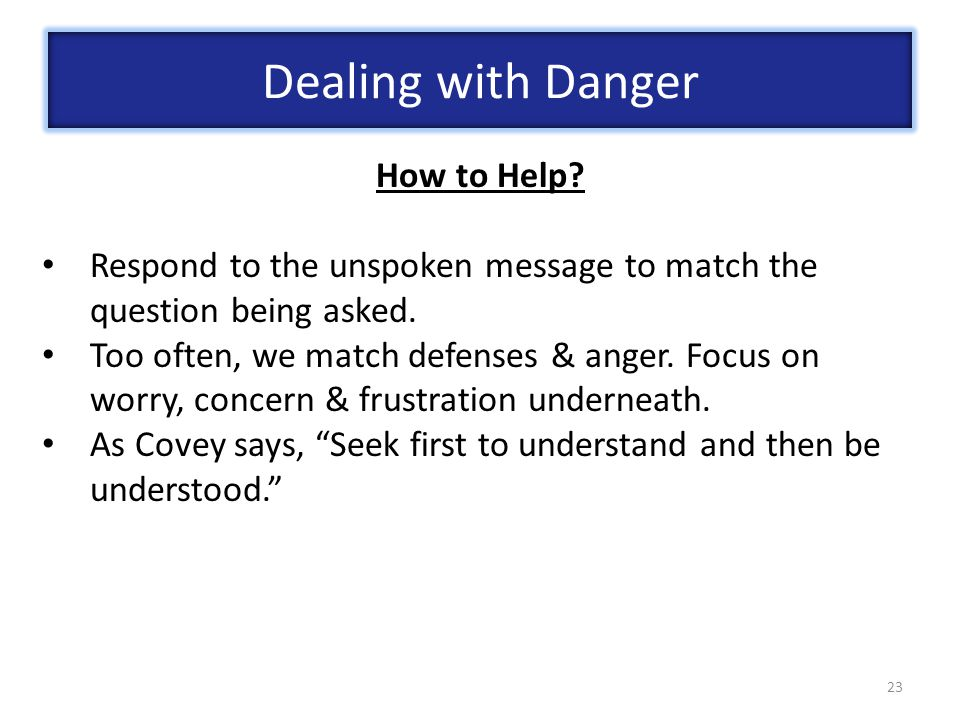 23 How to Help.Respond to the unspoken message to match the question being asked.