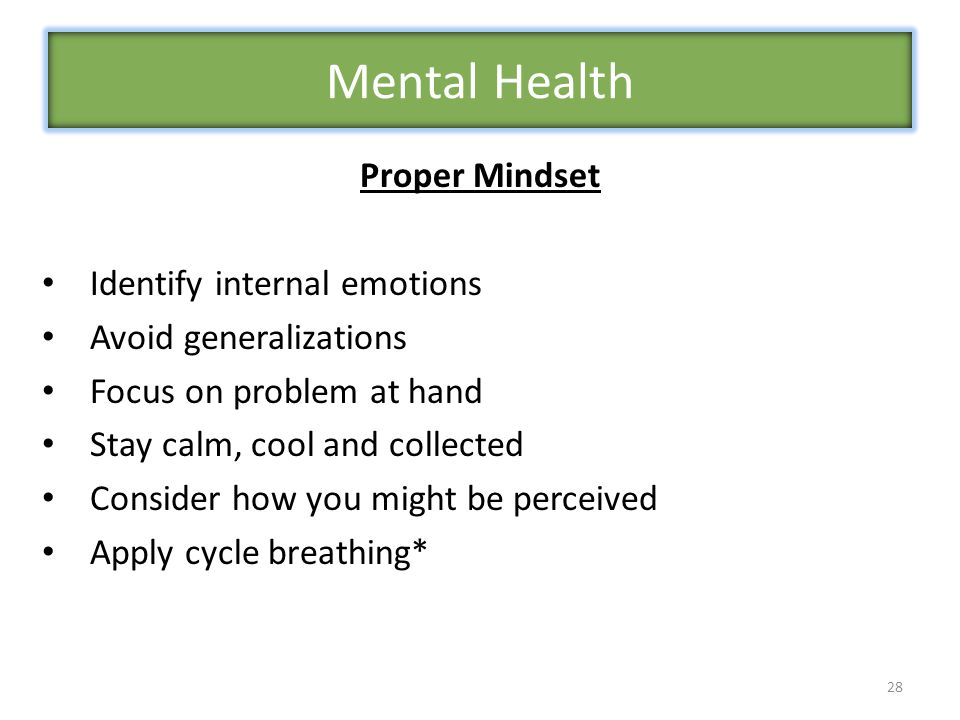 28 Proper Mindset Identify internal emotions Avoid generalizations Focus on problem at hand Stay calm, cool and collected Consider how you might be perceived Apply cycle breathing* Mental Health