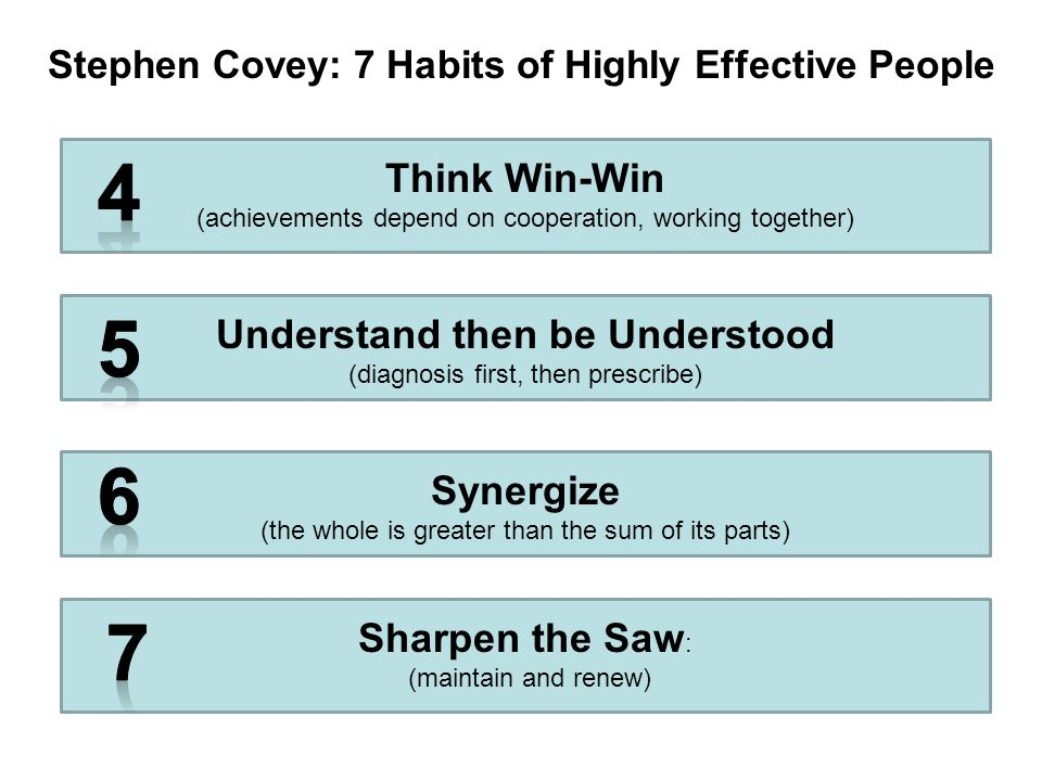 Stephen Covey: 7 Habits of Highly Effective People Understand then be Understood (diagnosis first, then prescribe) Synergize (the whole is greater than the sum of its parts) Sharpen the Saw : (maintain and renew) Think Win-Win (achievements depend on cooperation, working together)