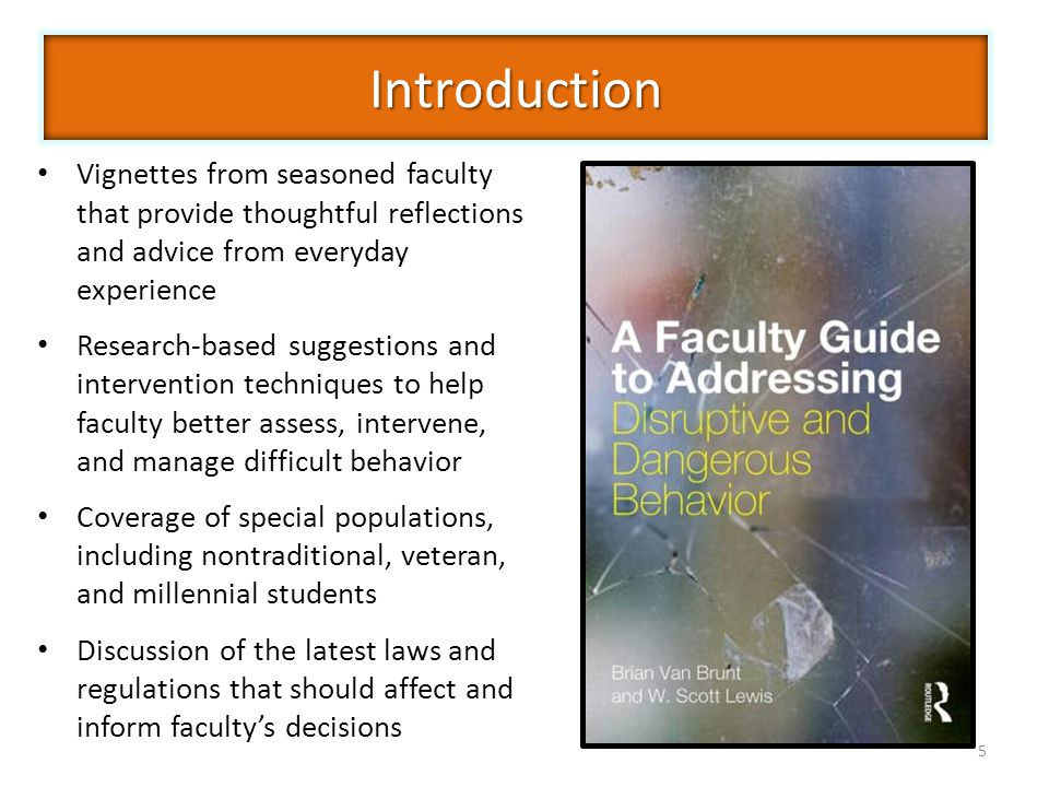 5 Vignettes from seasoned faculty that provide thoughtful reflections and advice from everyday experience Research-based suggestions and intervention techniques to help faculty better assess, intervene, and manage difficult behavior Coverage of special populations, including nontraditional, veteran, and millennial students Discussion of the latest laws and regulations that should affect and inform faculty's decisions Introduction