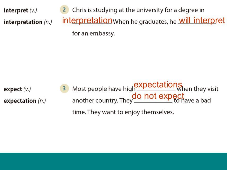 interpretationwill interpret expectations do not expect