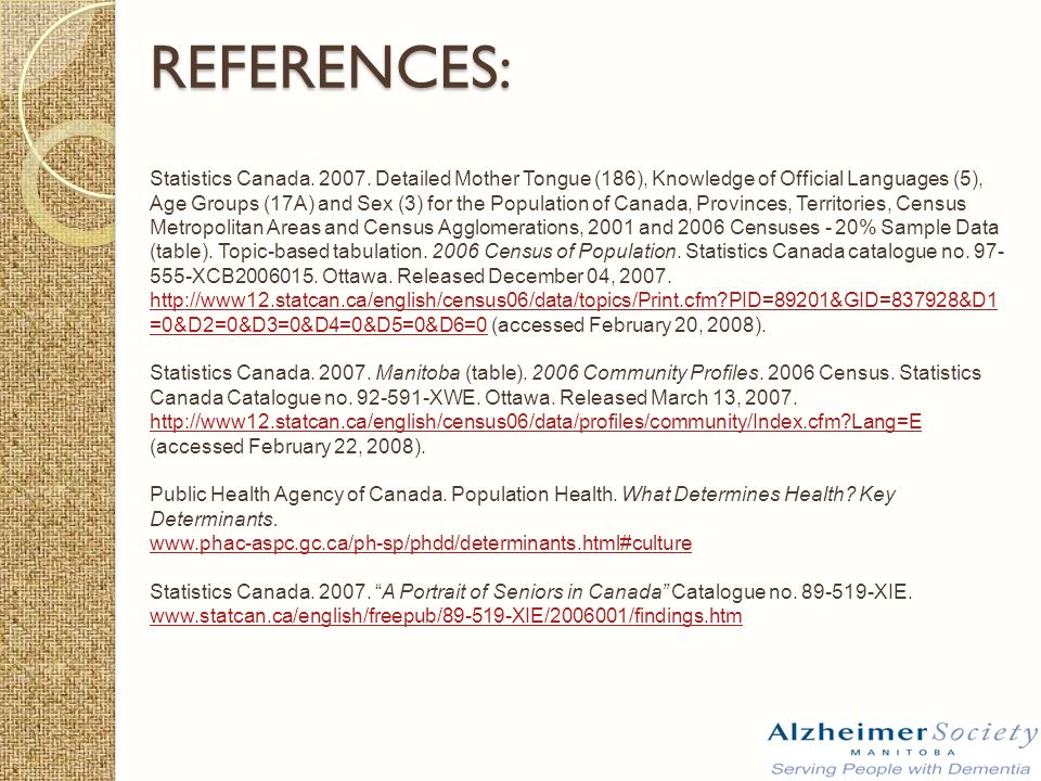 REFERENCES: Statistics Canada. 2007.
