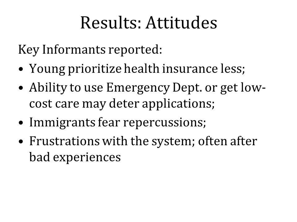 Results: Attitudes Key Informants reported: Young prioritize health insurance less; Ability to use Emergency Dept.