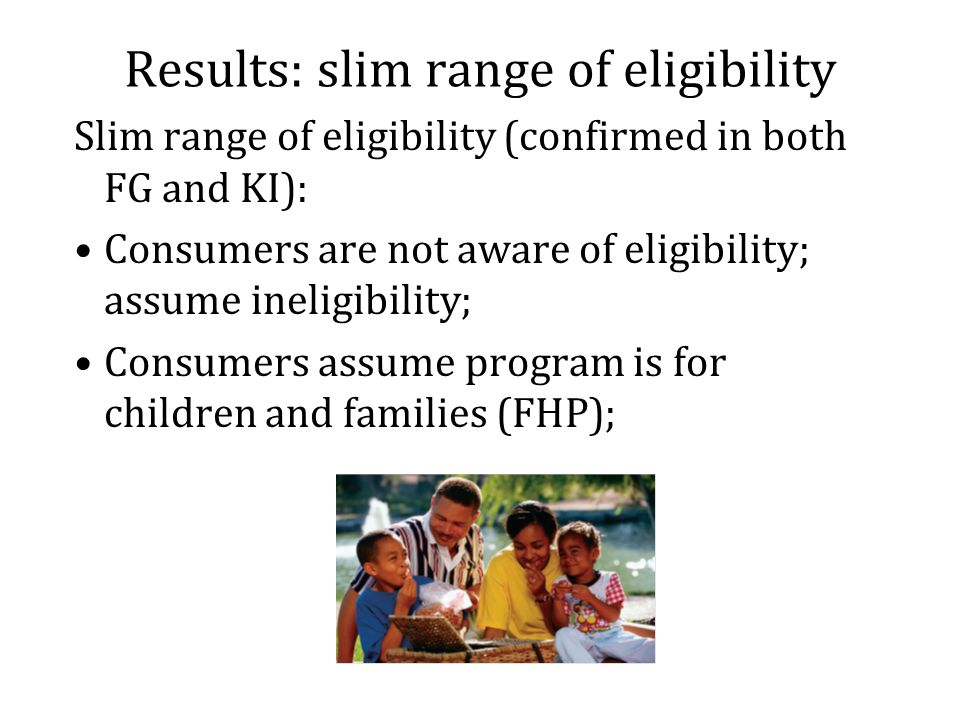 Results: slim range of eligibility Slim range of eligibility (confirmed in both FG and KI): Consumers are not aware of eligibility; assume ineligibility; Consumers assume program is for children and families (FHP);
