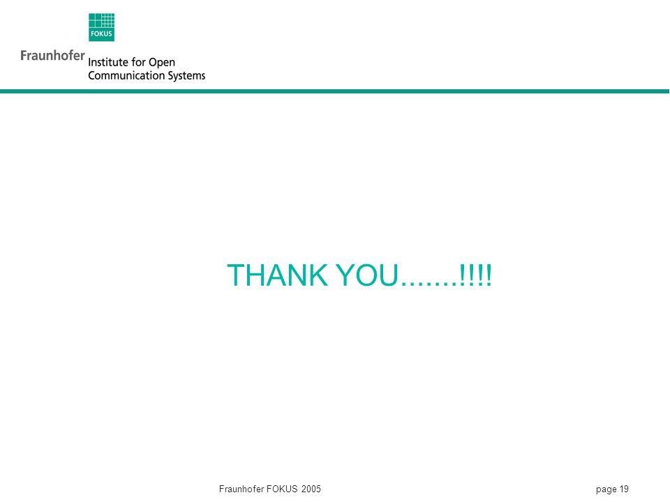 page 19 Fraunhofer FOKUS 2005 THANK YOU.......!!!!