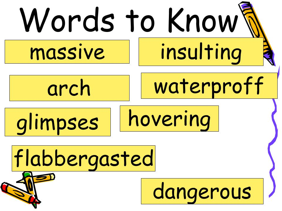 Words to Know massive arch glimpses waterproff insulting hovering dangerous flabbergasted