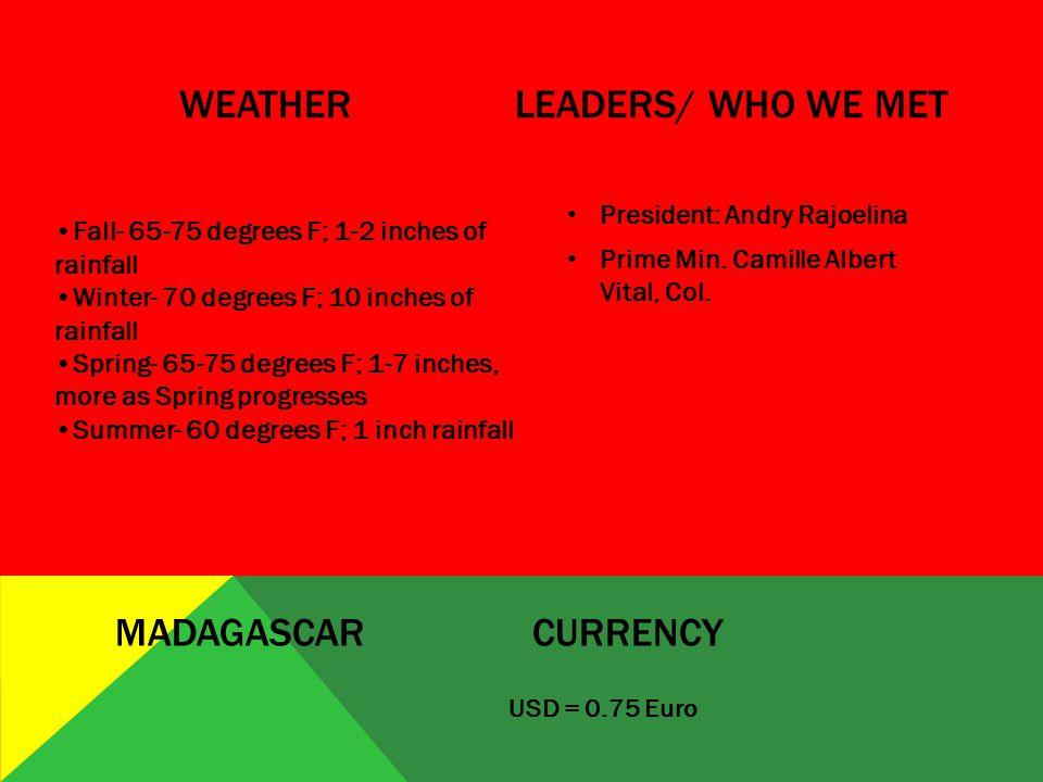 WEATHERLEADERS/ WHO WE MET USD = 0.75 Euro MADAGASCARCURRENCY President: Andry Rajoelina Prime Min.