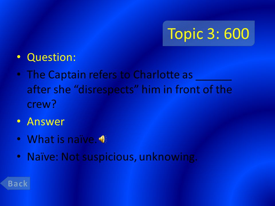 Topic 3: 400 Question: When faced with the choice between crew and captain Charlotte _______ chose captain? Answer What is cowardly. Cowardly: Shamefu