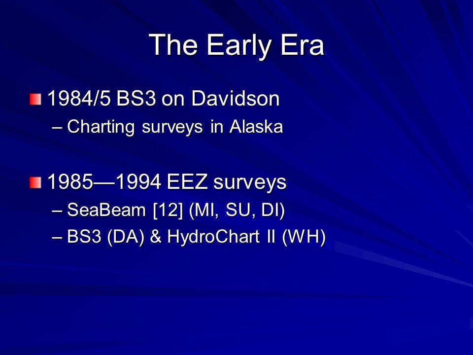 The Early Era 1984/5 BS3 on Davidson –Charting surveys in Alaska 1985—1994 EEZ surveys –SeaBeam [12] (MI, SU, DI) –BS3 (DA) & HydroChart II (WH)