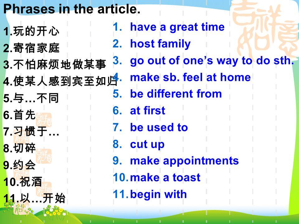 1.玩的开心 2. 寄宿家庭 3. 不怕麻烦地做某事 4. 使某人感到宾至如归 5. 与 … 不同 6.