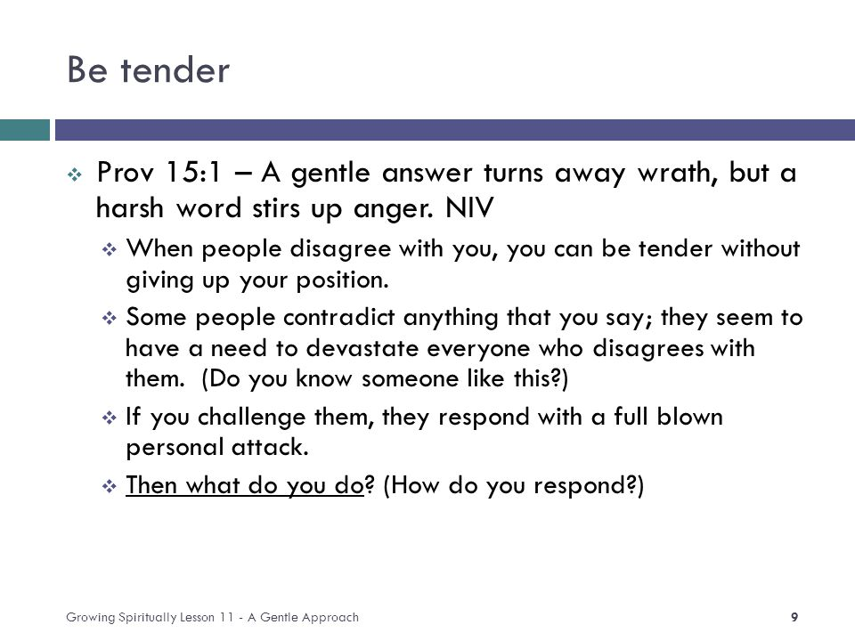 Be tender  Prov 15:1 – A gentle answer turns away wrath, but a harsh word stirs up anger.