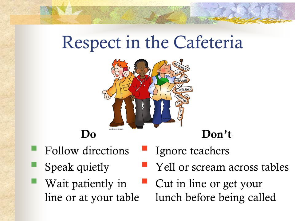 Respect in the Cafeteria Do  Follow directions  Speak quietly  Wait patiently in line or at your table Don't  Ignore teachers  Yell or scream acr